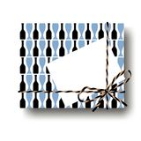 Black and blue glasses and bottles gift present box with tied string bow and blank note with copy space. Wrapping diy idea. Vector. Illustration. Top view Stock Photography