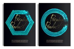 Black and blue Gold Design Templates for Brochures, Flyers, Mobile Technologies, Applications, Banners, premium box. royalty free illustration