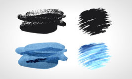 Black and blue grunge hand drawn blobs Vector set. Royalty Free Stock Photo