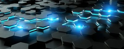 Black and blue hexagons background pattern 3D rendering. Black and blue abstract hexagons background pattern 3D rendering Stock Images
