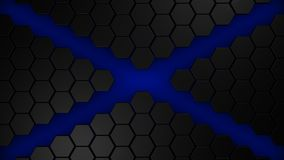 Black and blue hexagons modern background 3d render. Illustration Stock Photography