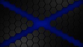 Black and blue hexagons modern background 3d render. Illustration stock illustration