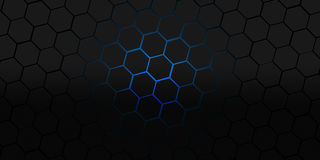 Black and blue hexagons modern background illustration Stock Photography