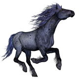 Black blue horse running - 3D render. Black blue horse running isolated in white background - 3D render Royalty Free Stock Photography