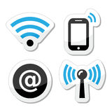 Wifi network, internet zone icons set Stock Photos