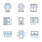 Black and blue line air conditioners icons Royalty Free Stock Photos