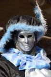 Black and blue lordling mask at the Carnival of Venice Stock Image