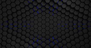 Black and blue metal hexagons abstract background, 3d render. Illustration royalty free illustration