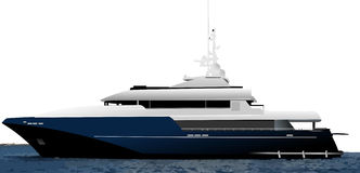 Black blue ocean yacht Stock Images