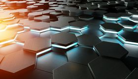 Black blue and orange hexagons background pattern 3D rendering. Black blue and orange abstract hexagons background pattern 3D rendering Royalty Free Stock Image