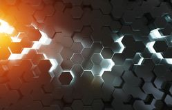 Black blue and orange hexagons background pattern 3D rendering. Black blue and orange abstract hexagons background pattern 3D rendering Royalty Free Stock Photo