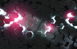 Black blue and pink hexagons background pattern 3D rendering. Black blue and pink abstract hexagons background pattern 3D rendering Stock Photo