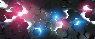 Black blue and pink hexagons background pattern 3D rendering. Black blue and pink abstract hexagons background pattern 3D rendering Stock Photos