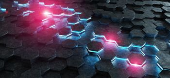 Black blue and pink hexagons background pattern 3D rendering. Black blue and pink abstract hexagons background pattern 3D rendering Royalty Free Stock Photo