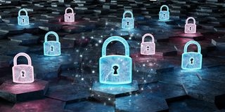 Black blue and pink padlock icon on hexagons background 3D rende. Black blue and pink abstract padlock icon on hexagons background 3D rendering royalty free illustration