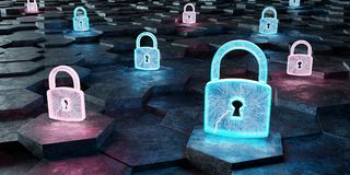 Black blue and pink padlock icon on hexagons background 3D rende. Black blue and pink abstract padlock icon on hexagons background 3D rendering Royalty Free Stock Image