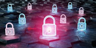 Black blue and pink padlock icon on hexagons background 3D rende. Black blue and pink abstract padlock icon on hexagons background 3D rendering Royalty Free Stock Photography
