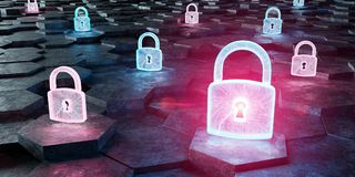 Black blue and pink padlock icon on hexagons background 3D rende. Black blue and pink abstract padlock icon on hexagons background 3D rendering Stock Images