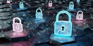 Black blue and pink padlock icon on hexagons background 3D rende. Black blue and pink abstract padlock icon on hexagons background 3D rendering stock illustration