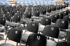 Black and blue plastic seats Royalty Free Stock Image