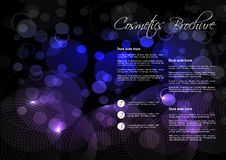 Black blue purple background with circular design for cosmetic brochure Royalty Free Stock Photos