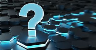 Black and blue question icon on hexagons background 3D rendering. Black blue abstract question icon on hexagons background 3D rendering Stock Images