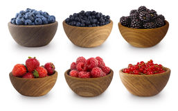 Black-blue and red berries isolated on white background. Collage of different fruits and berries. Blueberry, bilberry, blackberry, strawberry, red currant and Royalty Free Stock Photo