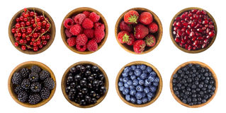 Black-blue and red berries isolated on white background. Collage. Of different fruits and berries. Blueberry, blackberry, cherry, strawberry, currant and Stock Image