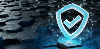 Black blue shield icon on hexagons background 3D rendering. Black blue abstract shield icon on hexagons background 3D rendering royalty free illustration