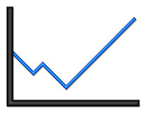 Black and Blue Shiny Graph Heading Up. Black and blue shiny graph with upward trend royalty free illustration