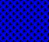 Black on blue simple octopus pattern seamless repeat background. Two colour simple octopus pattern seamless repeat background. Could be used for background stock illustration
