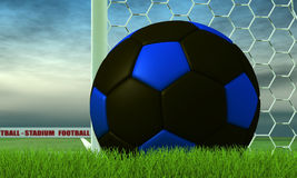 Black and blue soccer-ball on green. Soccer-ball on white line of a door soccer- rendering Royalty Free Stock Photo