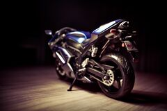 Black and Blue Sports Bike Stock Photography