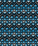 Black and blue stylized symmetric endless pattern, continuous cr Royalty Free Stock Photos
