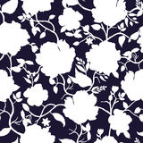 Black blue and white floral seamless pattern.  Royalty Free Stock Photos