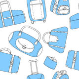 Black blue and white hand drawn travel bags seamless pattern, vector Royalty Free Stock Photos