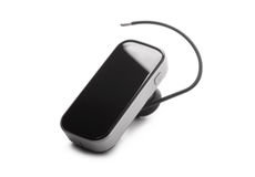 Black bluetooth headset isolated Stock Photo