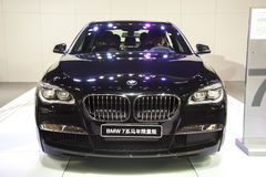 Black bmw7 series of horse limited edition car Royalty Free Stock Images