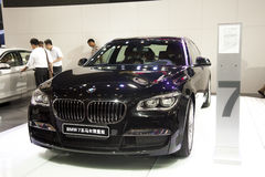 Black bmw7 series of horse limited edition car Stock Images