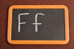 A black board with the alphabet letter F. In a capital and small letter Royalty Free Stock Image