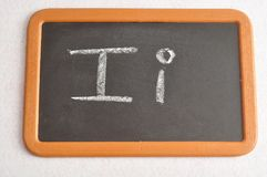 A black board with the alphabet letter I. In a capital and small letter Stock Photography