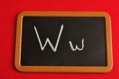 A black board with the alphabet letter W. In a capital and small letter Royalty Free Stock Photo