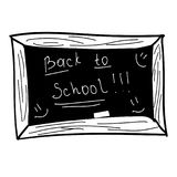 Black board, back to school, vector illustration, black and white hand draw Royalty Free Stock Image