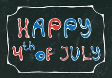 Black Board Background. Happy USA Independence Day 4 th July Lettering in a Frame. Baloons, Stars, Flag. Greeting card and poster. Design. Realistic Hand Drawn Royalty Free Stock Photo
