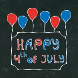 Black Board Background. Happy USA Independence Day 4 th July Lettering in a Frame. Baloons, Stars, Flag. Greeting card and poster. Design. Realistic Hand Drawn Stock Image