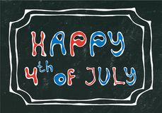 Black Board Background. Happy USA Independence Day 4 th July Lettering in a Frame. Baloons, Stars, Flag. Greeting card and poster. Design. Realistic Hand Drawn Royalty Free Stock Photography