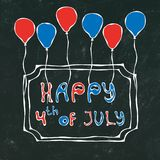 Black Board Background. Happy USA Independence Day 4 th July Lettering in a Frame. Baloons, Stars, Flag. Greeting card and poster. Design. Realistic Hand Drawn Stock Images