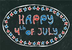 Black Board Background. Happy USA Independence Day 4 th July Lettering in a Frame. Baloons, Stars, Flag. Greeting card and poster. Design. Realistic Hand Drawn Royalty Free Stock Image