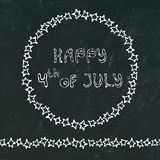 Black Board Background. Happy USA Independence Day 4 th July Lettering in a Frame. Baloons, Stars, Flag. Greeting card and poster. Design. Realistic Hand Drawn stock illustration