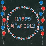 Black Board Background. Happy USA Independence Day 4 th July Lettering in a Frame. Baloons, Stars, Flag. Greeting card and poster. Design. Realistic Hand Drawn vector illustration